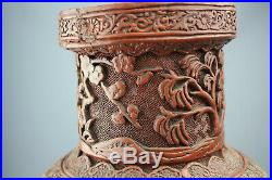 1736-1795 Large Chinese Cinnabar Lacquer Qianlong Period Antique Rouleau Vase