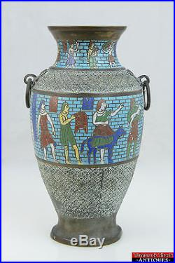 1920s Large Chinese Egyptian Revival Cloisonne Enamel Art Brass Bronze Urn Vase
