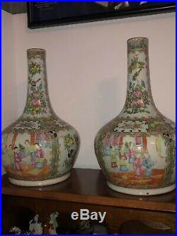 19th Century Chinese Famille Rose Medallion Bottle Vases Large Pair Qing Period