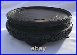 19th c Large Chinese Carved Wood Hardwood Wooden Display Stand Vase Bowl Jar