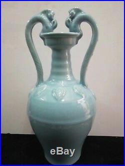 20.5H Large Exquisite Chinese Blue Glaze Porcelain Vases Pot Marks YongZheng