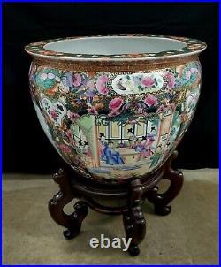 20th Century Large Chinese Famille Rose Medalion Fish Bowl Vase Qianlong Marked
