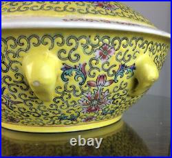 2 Famille Jaune Chinese Rose Medallion Porcelain Large Tureen with Lid