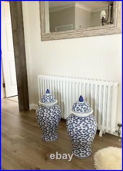 2 X Large Vintage Chinese Blue/White Ceramic Vases 60cm tall (approximately)