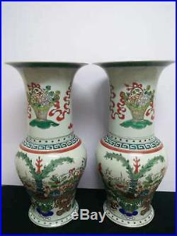 2 x Large Chinese Porcelain Landscape Vases Handpainted Pot Marks KangXi