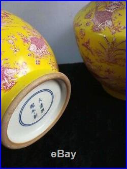 2 x Large Vintage Chinese Porcelain Landscape Vases Hand-carving Marks KangXi