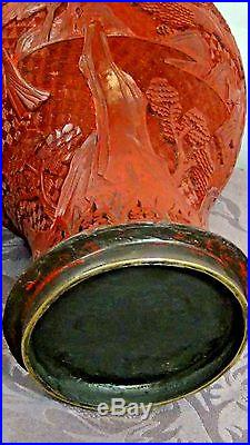 ANTIQUE 18c CHINESE RED LACQUERED LARGE CINNABAR IMMORTALS ON LANDSCAPE VASE 14