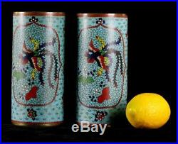 ANTIQUE Pair LARGE 19th c. CHINESE CLOISONNE ENAMEL QING DYNASTY brush pot vase