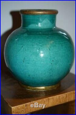 A FINE ANTIQUE LARGE GREEN CRACKLE GLAZE VASE -19th