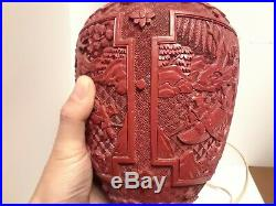 A Large Chinese Qing Dynasty Cinnabar Vase Lamp