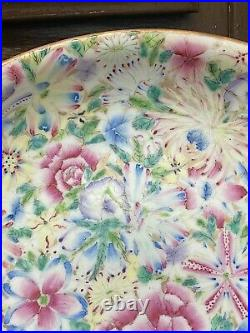 A Large Hundreds Flowers Antique Chinese famille Rose Charger. 16.2