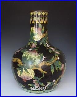 A Large Late Qing Dynasty Antique Chinese Cloissone Peach Vase