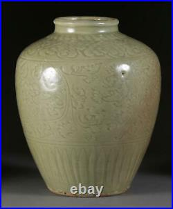 A Large and Important Chinese Yuan Dynasty Celadon Porcelain Vase