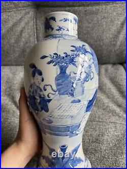 A Lovely Chinese 19thC Blue and White Figural Pattern Balustrade Vase Large