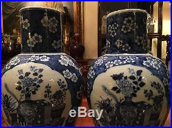 A Pair Large and Rare Chinese Qing Dynasty Blue and White Vases