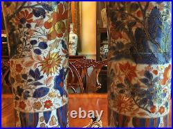 A Pair Large and Rare Kangxi Imari Porcelain Gu Vase Lamps, Drilled
