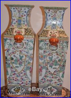 A perfect pair of large Chinese porcelain square baluster vases, circa 1700
