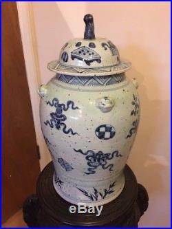 A single large Chinese Blue and White vase / ginger jar