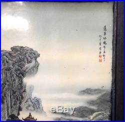 Amazing X-large Old Chinese Porcelain Landscape Painting On Tile Signed