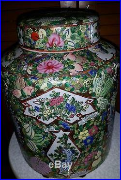 Antiqnes Chinese Large 11 Hand Painted Lidded Rose Medallion Container Ex Cond