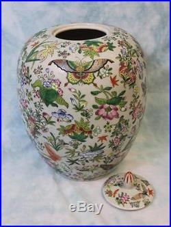 Antique Ca 1840 Celadon large Chinese Ginger Jar with Lid Enameled Butterflies