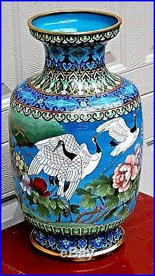 Antique Chines Large Cloisonne Polichrome Enameled Vase With Flying Cranes #1