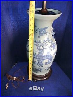 Antique Chinese 19th C Large Celadon Withblue Underglaze Vase Made Into Lamp 35