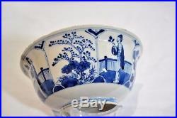 Antique Chinese Blue & White Bow Large 19th Century Kangxi Mark