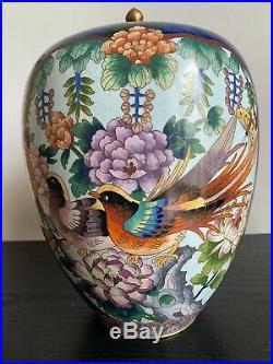 Antique Chinese Cloisonne Large Lidded Jar 30 cm