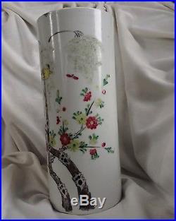 Antique Chinese Handpainted Porcelain Large Cylindrical Brush Pot Vase Bird Big