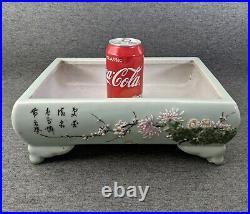 Antique Chinese/Japanese Large Celadon Planter Bonsai Ikebana Porcelain Footed