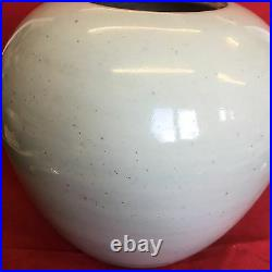Antique Chinese Large Blue And White Ginger Jar Men With Flowers Height 19cm