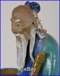 Antique Chinese Mudman Figure in Turquoise Robe and Large Vase 12 Tall Shiwan