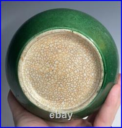Antique Chinese Qing Dynasty Apple Green Ge Crackle Large Jar Monochrome Vase