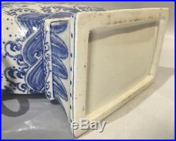 Antique Chinese Qing Dynasty Dragon Blue and White Large Three Spout Tulip Vase