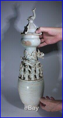 Antique Chinese Qingbai Glazed Large Funerary Vase Song Dynasty