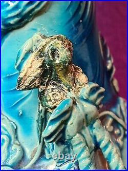 Antique Chinese /japanese Arita Turquoise Glaze Dragon Figural Vase