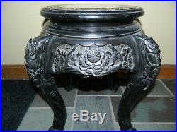Antique Hand Carved Japanese Wood Black Enamel Plant Or Large Bowl Vase Stand