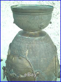 Antique Japanese Chinese Bronze Vase Elephant Handles Raised Birds Large
