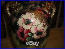 Antique Japanese Or Chinese Moriage Satsuma Vase-Painted Flowers-Handles-Large