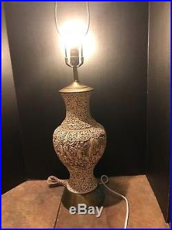 Antique Large Asian Carved White Cinnabar lamp
