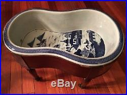 Antique Large Chinese Blue and White Bidet on Wood stand, ca 1820-30