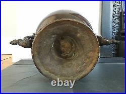 Antique Old Large Twin Handled Bronze Chinese Japanese Vase
