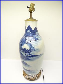 Antique Old Underglaze Chinese China Porcelain Electrified Large Floor Vase Lamp