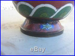 Antique Pair Of Chinese Cloisonne Large Dragon Vases