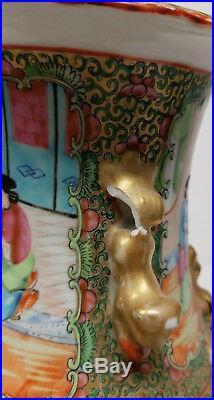 Antique Rose Medallion Large Vase Mandarin Palette Gilt Dragons Floral As Is