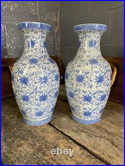 Antique Vintage Blue White Chinese Vases Pair Hand Painted Large Country House