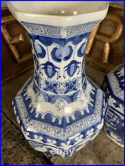 Antique Vintage Blue White Chinese Vases Pair Octagonal Large Country House