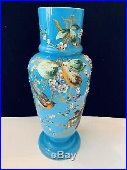 Antique Vintage Oriental Large 3D Blue Vase with Flowers and Birds 18
