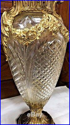 BEAUTIFUL LARGE ANTIQUE BRONZE ORMULU CUT GLASS VASE 19th Century